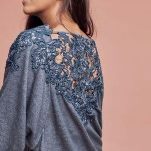 Anthropologie meadow rue Bria lace back sweatshirt